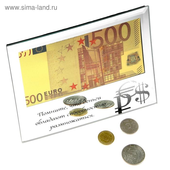 """Купюра 500 Евро """"Деньги обладают способностью размножаться"""" в зеркальной рамке"""