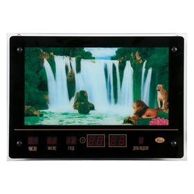 Картина с подсветкой, звуками водопада и информационным календарем 'Водопад со львами'  46*33см    6 Ош