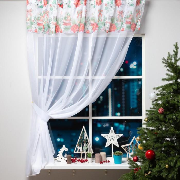 """Тюль с подхватом и ламбрекеном """"Christmas red flowers"""" 250х200см, 100% п/э, вуаль"""