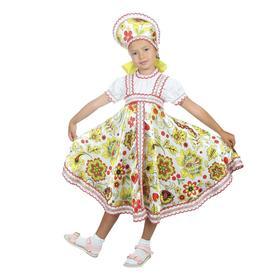 Русский народный костюм «Хохлома белая», платье, кокошник, р. 34, рост 134 см