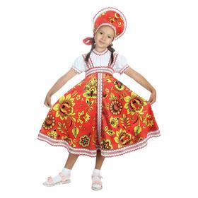 Русский народный костюм «Хохлома красная», платье, кокошник, р. 36, рост 140 см