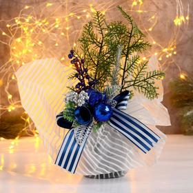 "Decor ""New year's fads"" apples and twigs, 25 cm blue"