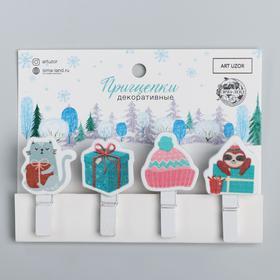 Набор декоративных прищепок «Новогоднее настроение», 12 × 9,7 см