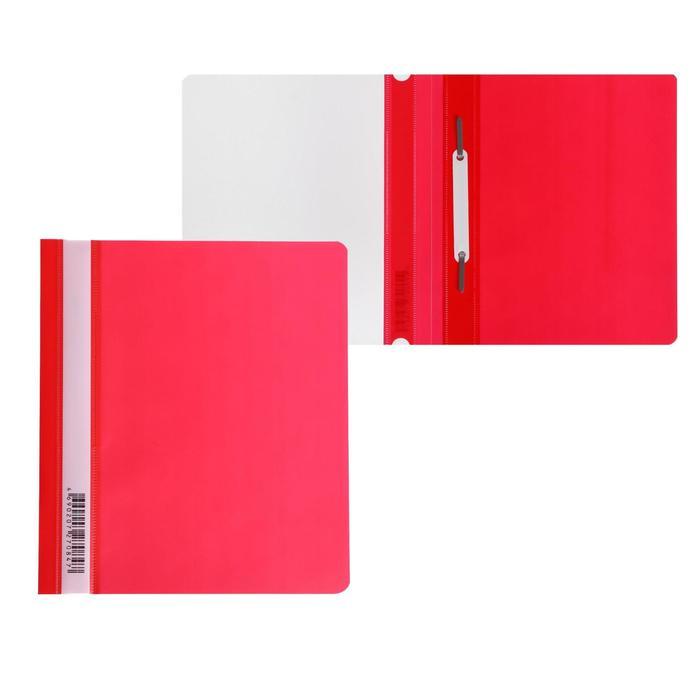 Папка-скоросшиватель А5 Бюрократ Люкс -PSL20A5RED прозрач.верх.лист, красная