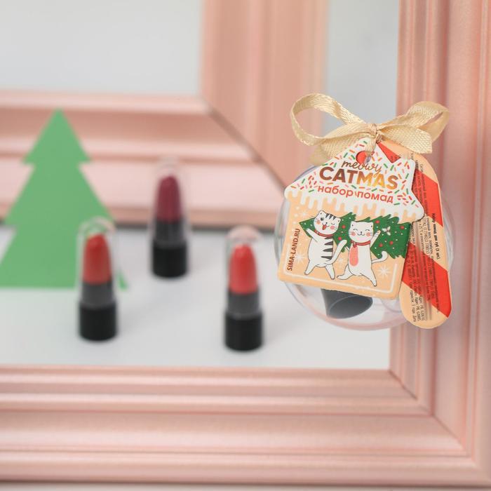 Набор маленьких помад для губ Meowy catmas: 3 цвета