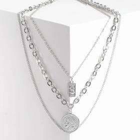 """Кулон """"Цепь"""" разные стороны, цвет серебро, L=50 см"""