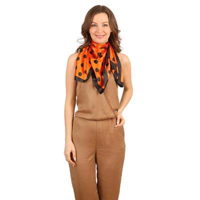 Women's shawl, size 85x85, color orange, black