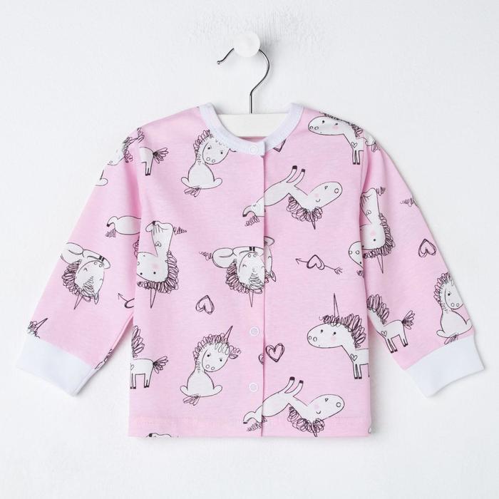 Кофточка с окантовкой горловины «Крошка единорог», рост 80 см, цвет розовый - фото 2032332