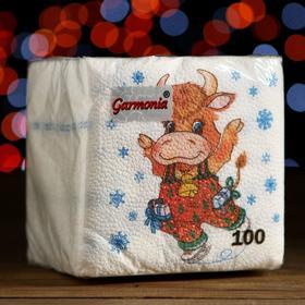 """Салфетки бумажные Гармония цвета многоцветие """"Новогодняя коровка"""", 24*24 см 100 листов"""