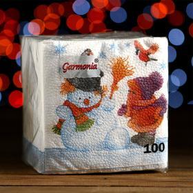 """Салфетки бумажные Гармония цвета многоцветие """"Снеговик и дети"""", 24*24 см 100 листов"""