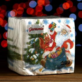 """Салфетки бумажные Гармония цвета многоцветие """"Дед Мороз"""", 24*24 см 100 листов"""