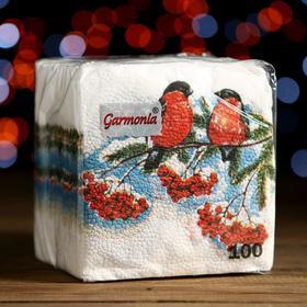 """Салфетки бумажные Гармония цвета многоцветие """"Снегири"""", 24*24 см 100 листов"""
