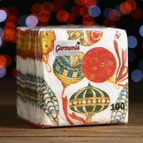"""Салфетки бумажные Гармония цвета многоцветие """"Шарики"""", 24*24 см 100 листов"""