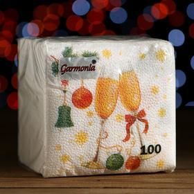 """Салфетки бумажные Гармония цвета многоцветие """"Шампанское"""", 24*24 см 100 листов"""