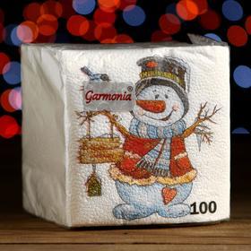 """Салфетки бумажные Гармония цвета многоцветие """"Снеговичок"""", 24*24 см 100 листов"""