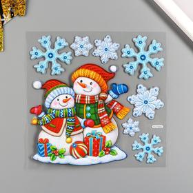 """Декоративная наклейка Room Decor """"Два снеговичка"""" 18х18 см"""