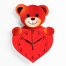 "Wall clock ""Bear with a heart"", smooth running"