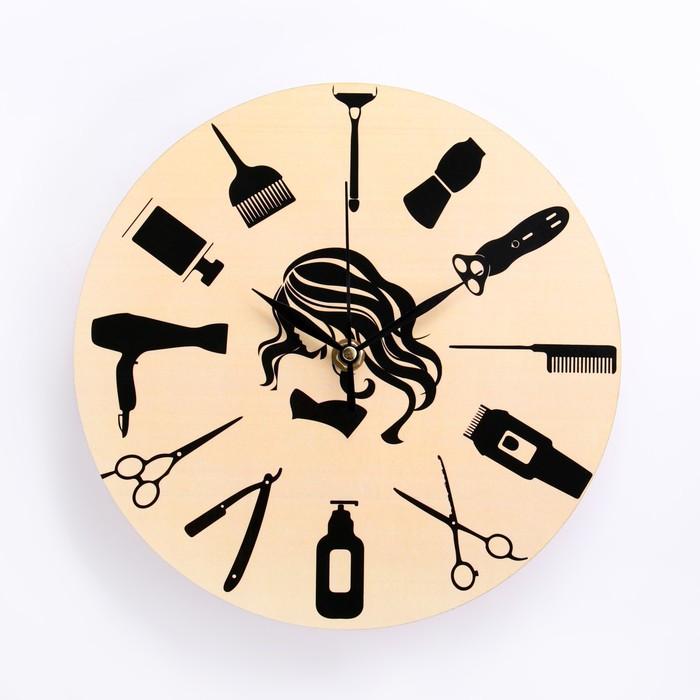 """Часы настенные """"Для парикмахерской"""", d-23.5. плавный ход, микс - фото 495581"""