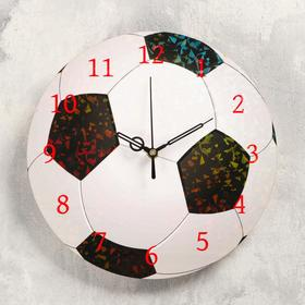 """Часы настенные """"Футбольный мяч"""", d- 23.5. плавный ход, стрелки и циферблат микс"""
