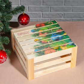 """Подарочная коробка реечная """"С Новым годом, ёлочка"""", 30х30х15 см, с крышкой, печать"""
