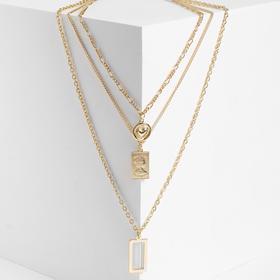 "Кулон ""Цепь"" рамка, два медальона, цвет золото, L=54 см"