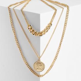 """Кулон """"Цепь"""" медальон, плотное плетение, цвет золото, L=50 см"""