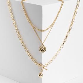 "Кулон ""Цепь"" шар, медальон, тогл, цвет золото, L=65 см"