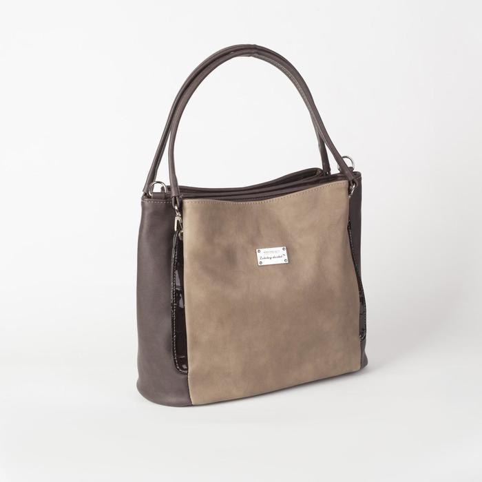 Сумка женская, 3 отдела на молнии, наружный карман, цвет коричневый - фото 53878