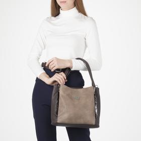 Сумка женская, 3 отдела на молнии, наружный карман, цвет коричневый - фото 53881