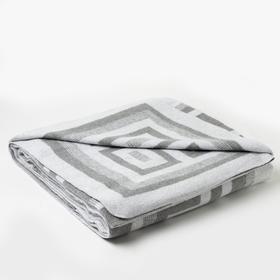 Одеяло хлопковое Греция 140х205 см,  бел сер, хлопок-50%, п/э-30%, пан-20%, 380г/м2