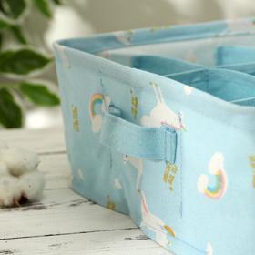 Корзина для хранения с ручками «Единорожки», 9 ячеек, 28×28×12 см, цвет голубой - фото 4640916