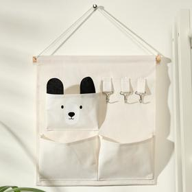 """Organizer with pockets hanging """"Mishka"""" 3 compartments, 30x34 cm, beige color"""