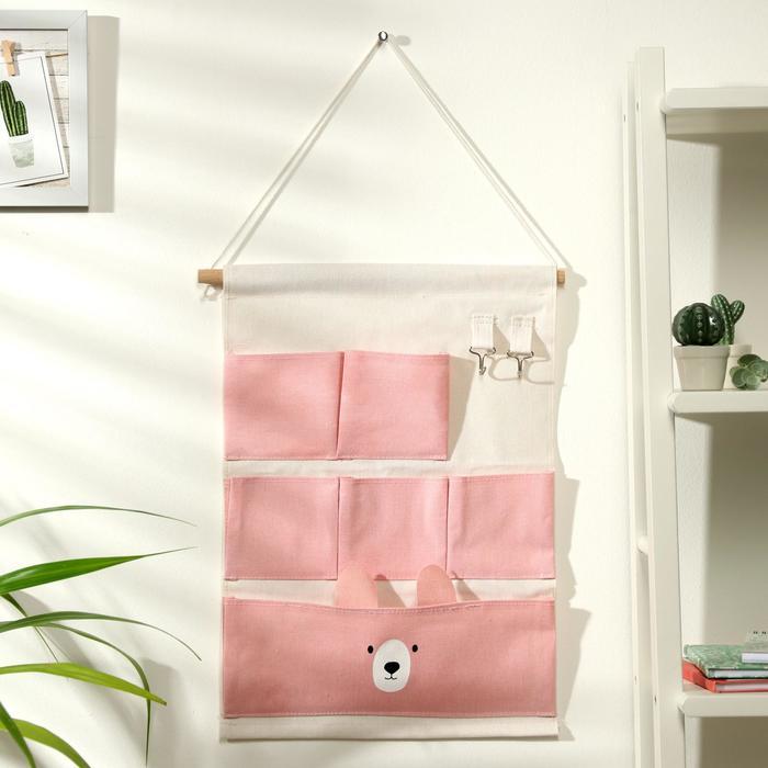 Органайзер с карманами подвесной «Мишка», 6 отделений, 60×35 см, цвет розовый - фото 495626