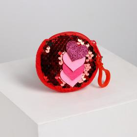 Кошелёк «Сердца», на карабине, с пайетками, цвета МИКС