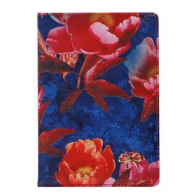Ежедневник недатированный А5, 160 листов Greta, обложка искусственная кожа, 2 ляссе, тонированный блок 70 г/м2, синий с цветами