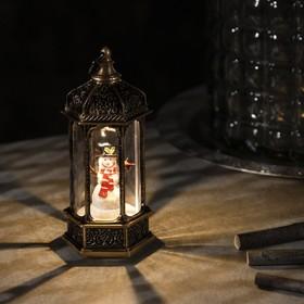 "Фигура свет. ""Снеговик в ротонде "" 14х6.3х6.3 см, 1 LED, 3хAG13,  Т/БЕЛЫЙ"