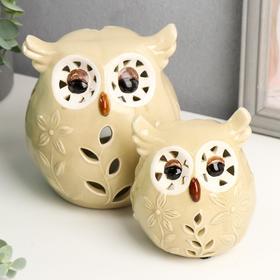 """Подсвечник керамика """"Совушки с цветами на животике"""" набор 2 шт 13х11х9,5 см"""