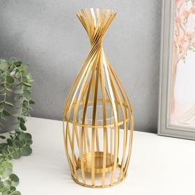 """Подсвечник металл, стекло на 1 свечу """"Соломка"""" золото 20х12х12 см"""