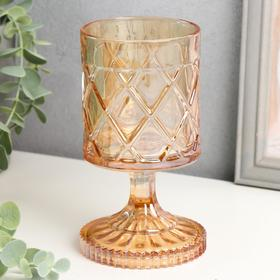 "Candle holder glass for 1 candle ""Rhombi"" glass on the stem caramel 15, 5x8, 7x8, 7 cm"