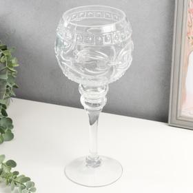 "Подсвечник стекло на 1 свечу ""Бокал - бант"" на ножке прозрачный 30х12,5х12,5 см"