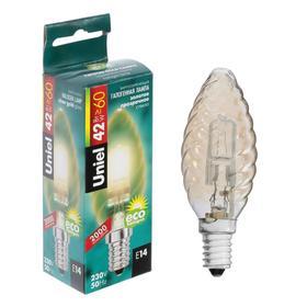 """Лампа галогенная Uniel """"свеча витая"""", Е14, 42 Вт, 230 В, золотистая"""
