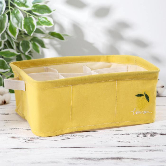 Корзина для хранения с ручками «Лимон», 28×28×12 см, 9 ячеек, цвет жёлтый - фото 4640876