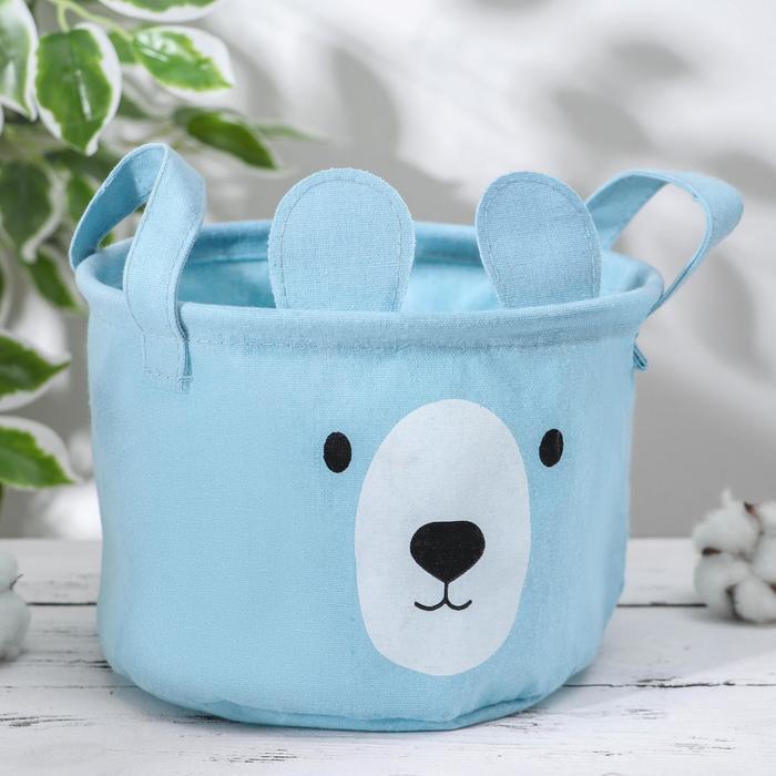 Корзина для хранения с ручками «Мишка», 20×20×15 см, цвет голубой - фото 949126