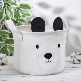 Корзина для хранения с ручками «Мишка», 20×20×15 см, цвет бежевый