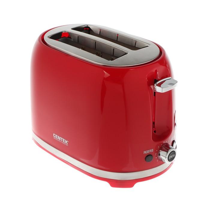 Тостер Centek СТ-1432 RED, 850 Вт, 7 режимов прожарки, 2 тоста, красный