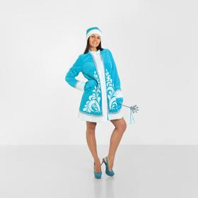 """Costume """"snow maiden with a pattern"""" hat, fur coat, mittens, R-R 50"""