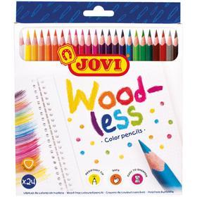 """Карандаши пластиковые 24цв JOVI """"Wood-less"""", трехгран., заточен., картон, европодвес 734/24"""
