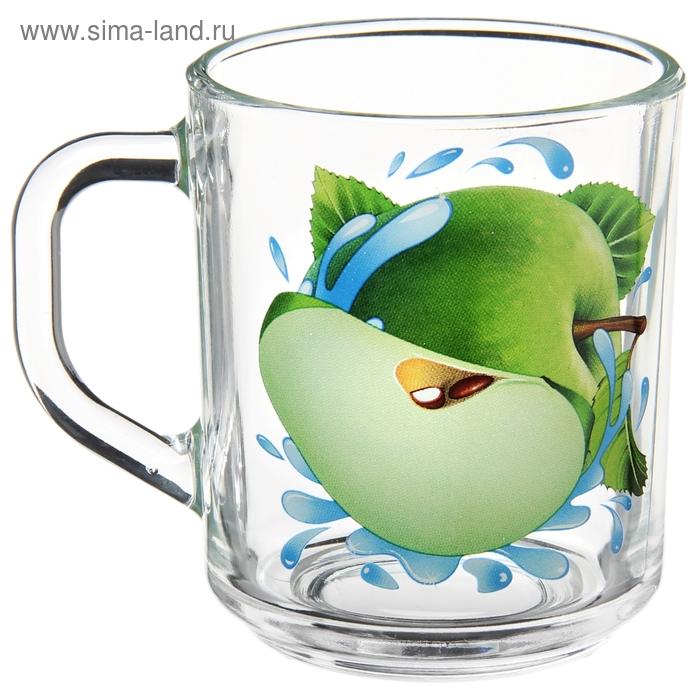 """Кружка стеклянная 200 мл """"Яблоко зеленое"""""""