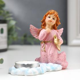 """Сувенир полистоун подсвечник со свечой """"Девочка-ангел в розовом платье""""  9х12х5,2 см"""