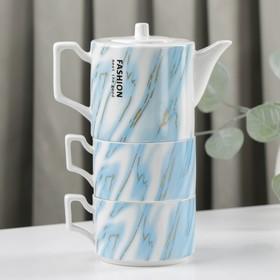 {{photo.Alt || photo.Description || 'Набор чайный «Мрамор», 3 предмета: чайник 480 мл, 15×9×9 см, 2 кружки 280 мл, цвет МИКС'}}